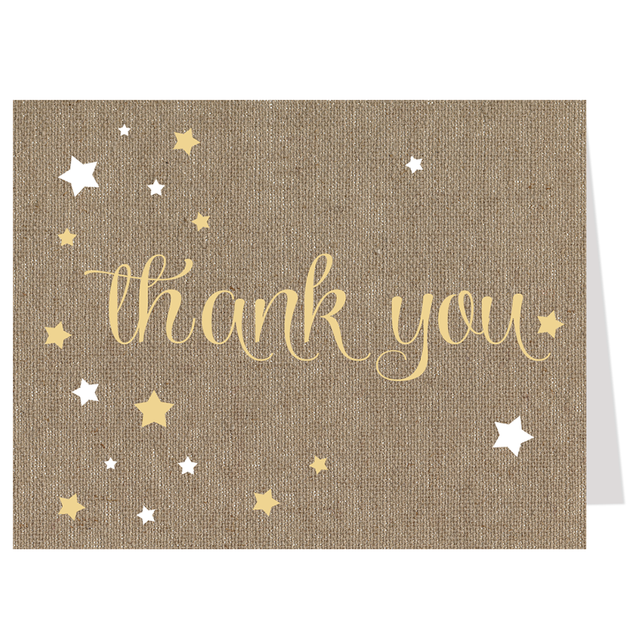 Burlap Twinkle Stars Thank You Card