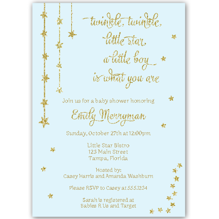 Twinkle Stars Glitter and Gold Blue Baby Shower Invitation