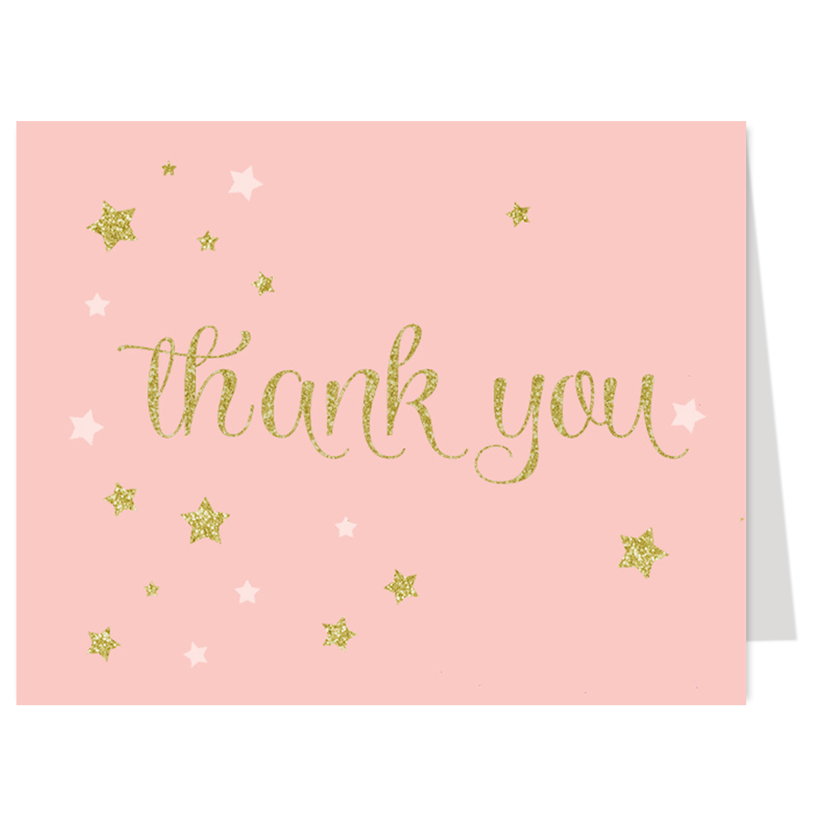 Twinkle Stars Pink Glitter and Gold Thank You Card