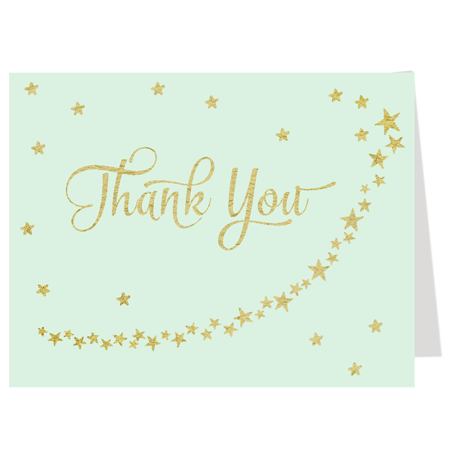 Twinkle Stars Glitter and Gold Mint Thank You Card