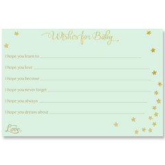 Twinkle Stars Glitter and Gold Mint Baby Shower Invitation