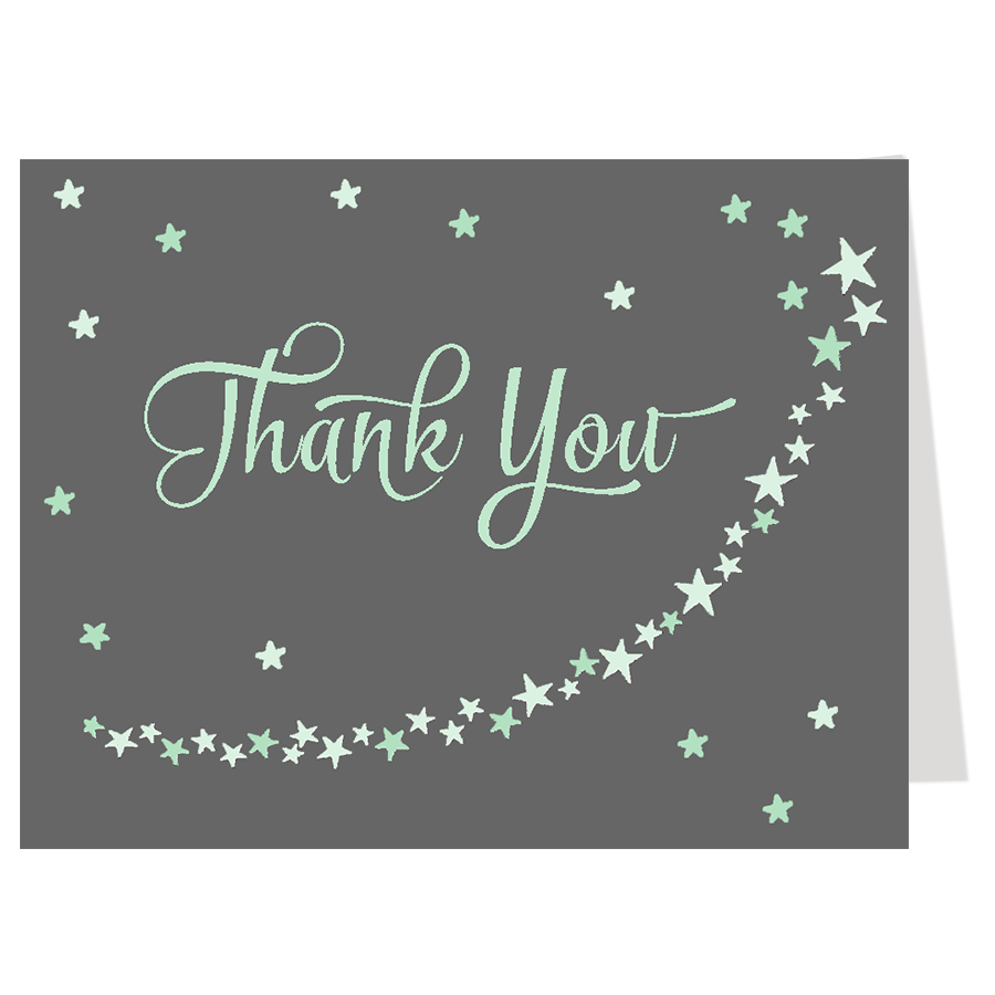 Twinkle Stars Mint Thank You Card