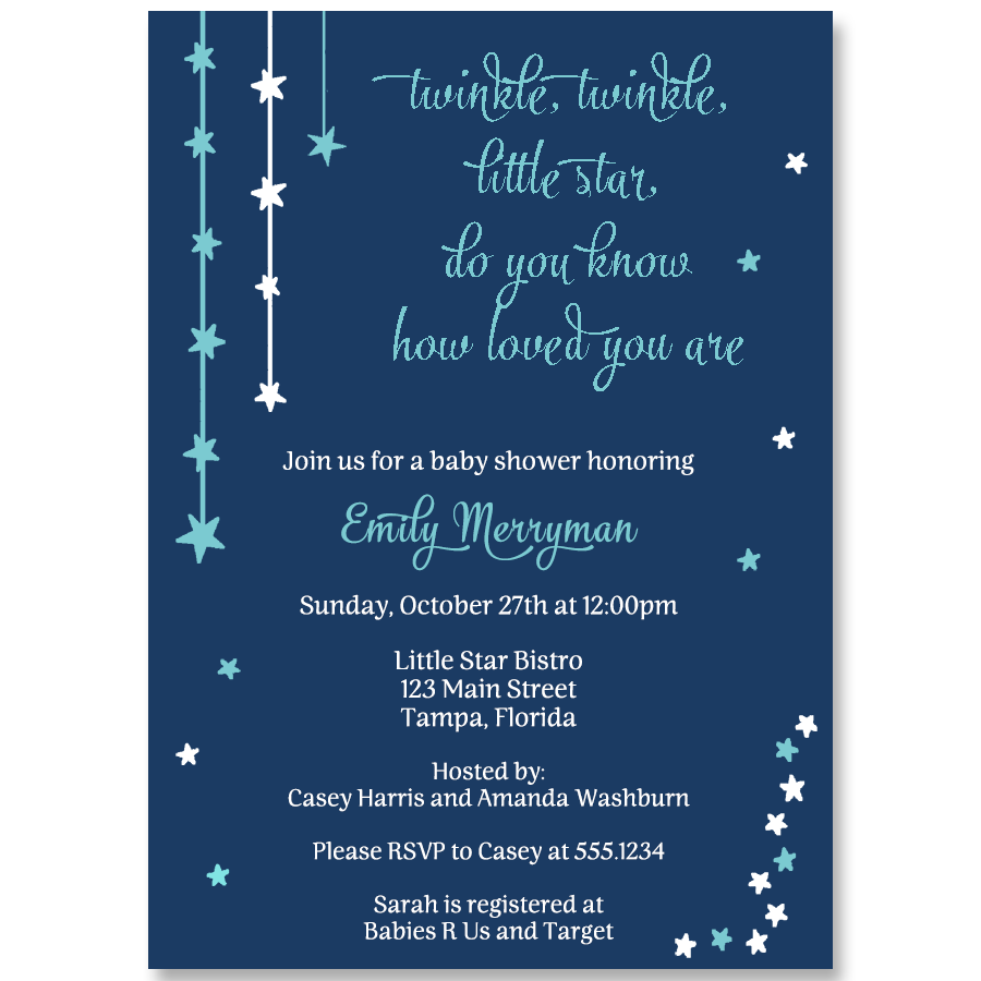 Twinkle Stars Navy Baby Shower Invitation – The Invite Lady