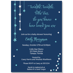 Twinkle Stars Navy Baby Shower Invitation