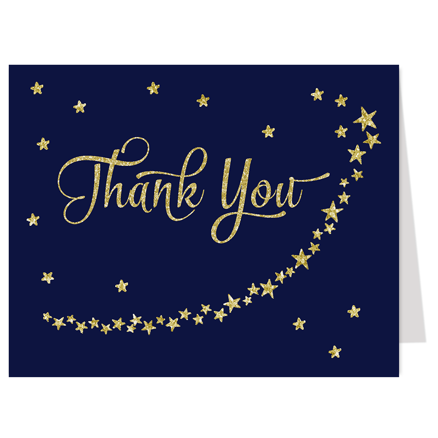 Twinkle Stars Navy and Gold Thank You Card
