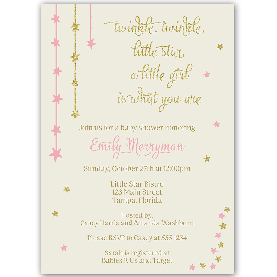 Twinkle Stars Glitter and Gold Baby Shower Invitation – The Invite ...
