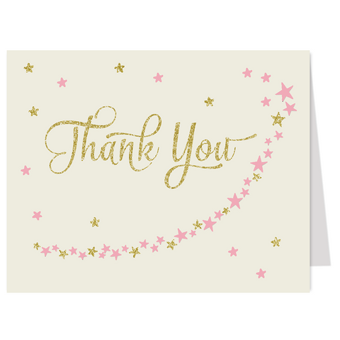Twinkle Stars Glitter and Gold Girls Thank You Card