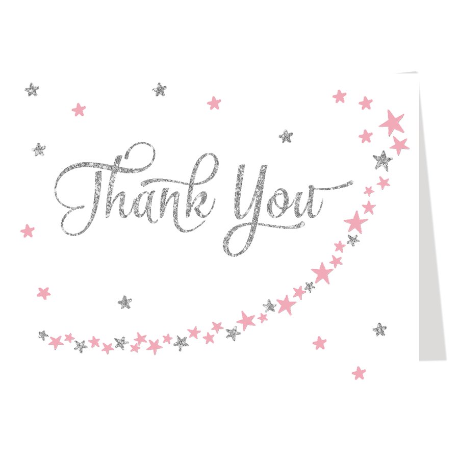 Twinkles Stars Glitter Pink and Silver Thank You Card