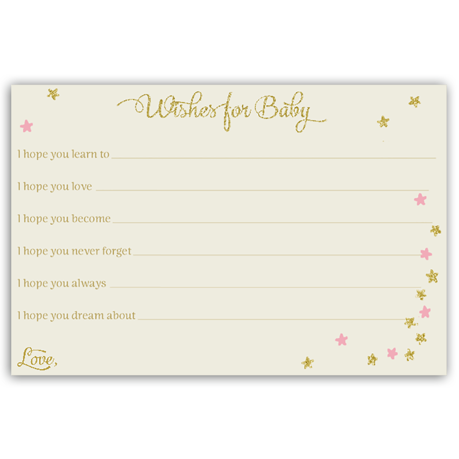 Twinkle Stars Glitter and Gold Girls Wishes Card