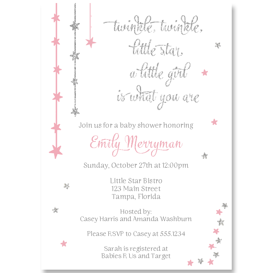 twinkle stars glitter pink and silver baby shower invitation the