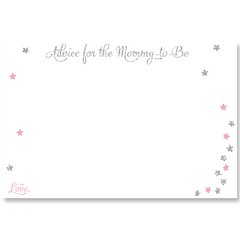 Twinkle Stars Glitter Pink and Silver Baby Shower Invitation