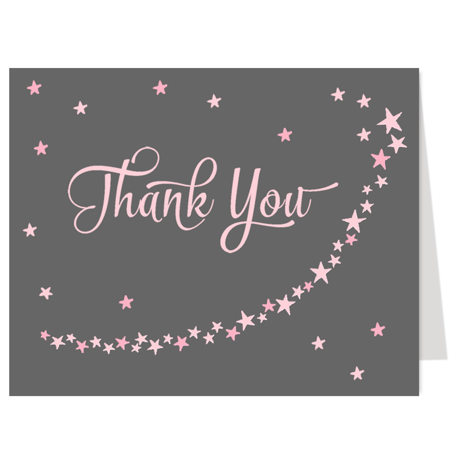 Twinkle Stars Pink Thank You Card