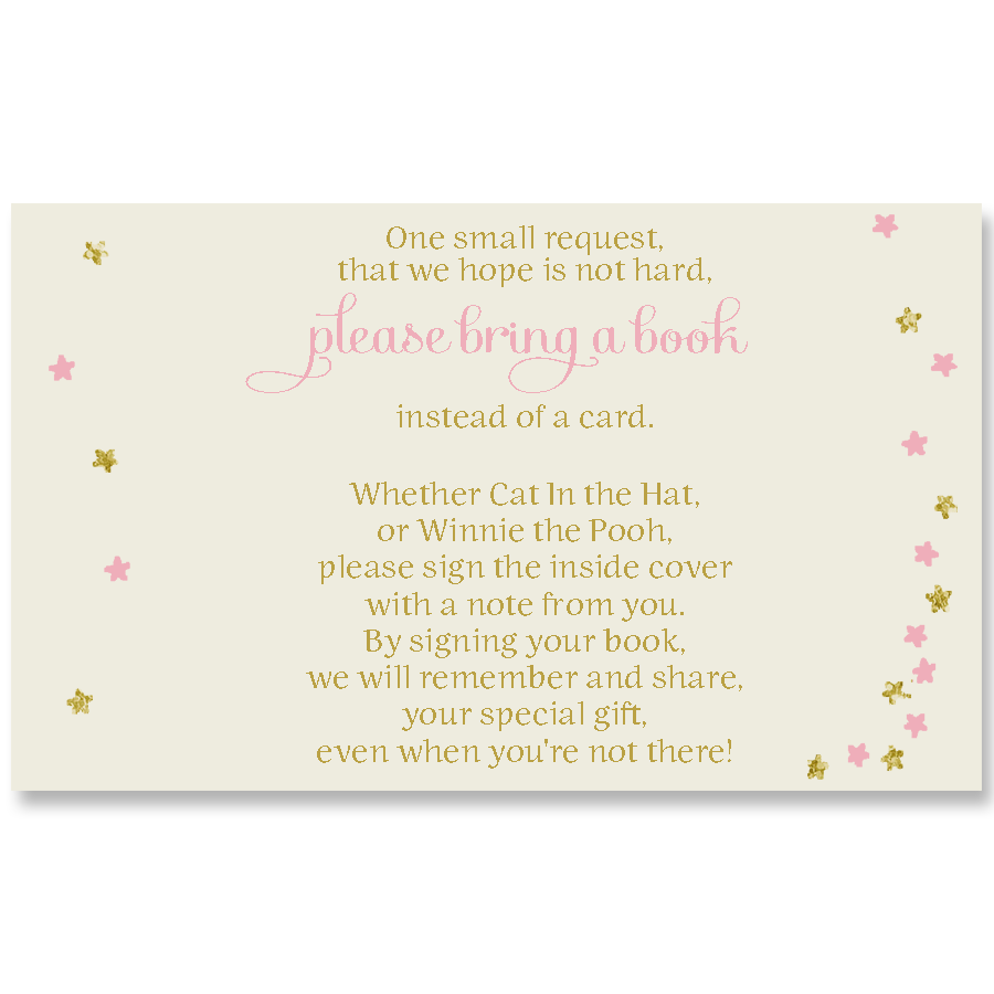 Twinkle Stars Glitter and Gold Pink Book Insert
