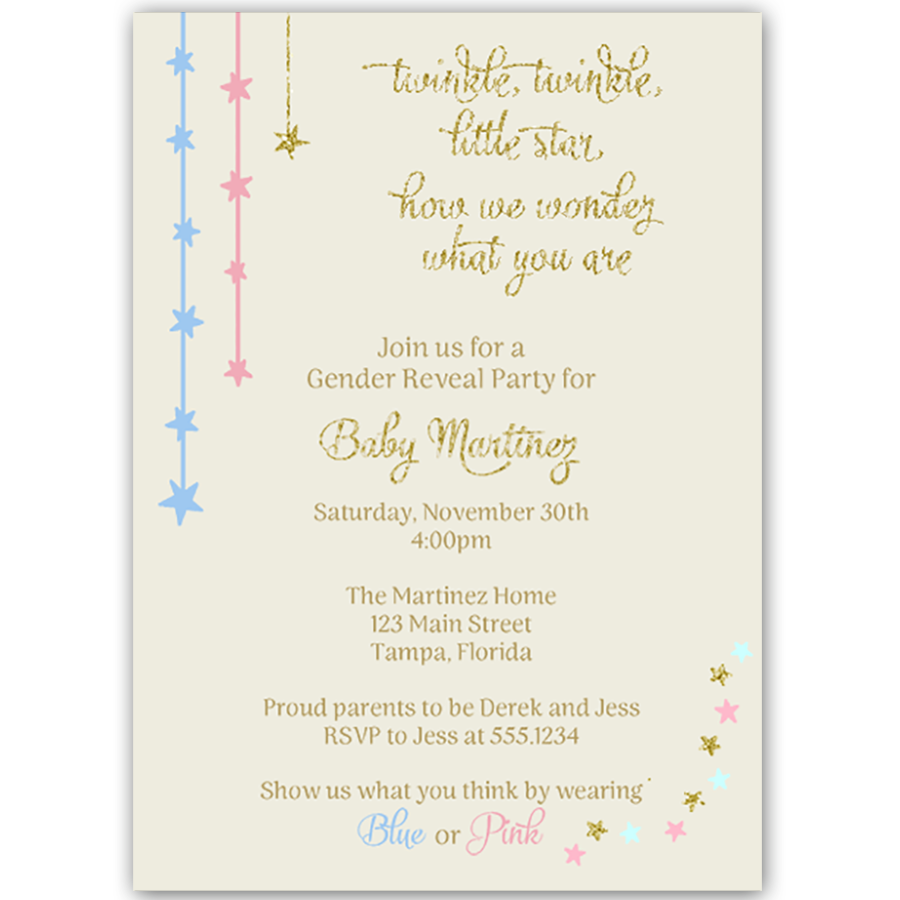 Twinkle Stars Gold Gender Reveal Party Invitation