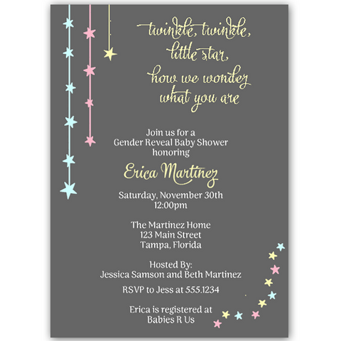 Twinkle Stars Gender Reveal Party Invitation
