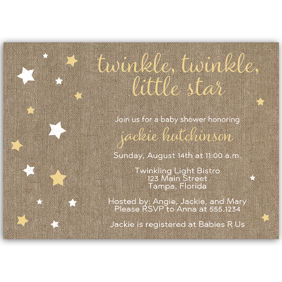 Burlap Twinkle Star Yellow Baby Shower Invitation