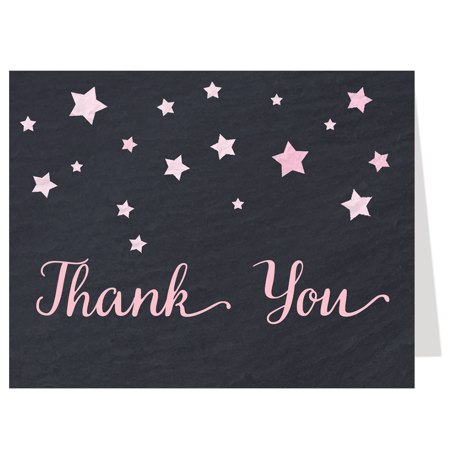 Twinkle Stars Chalkboard, Pink, Thank You Card