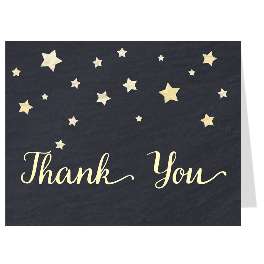 Twinkle Stars Chalkboard, Yellow, Thank You Card