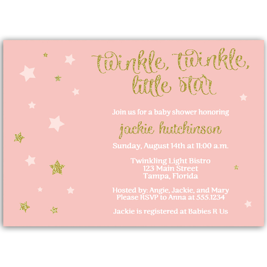 Twinkle Stars Pink Glitter and Gold Baby Shower Invitation – The ...