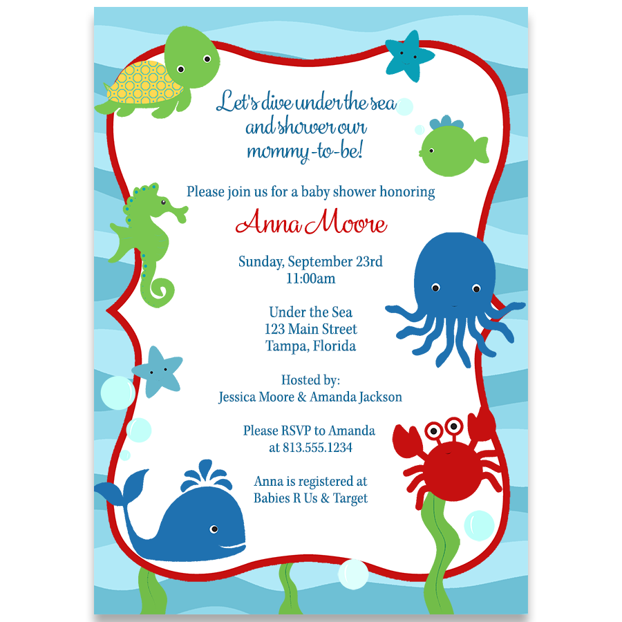 Under the Sea, Baby Shower Invitation