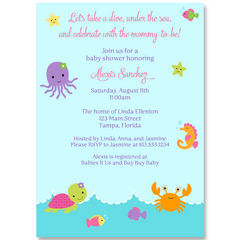 Under The Sea, Pink, Baby Shower Invitation