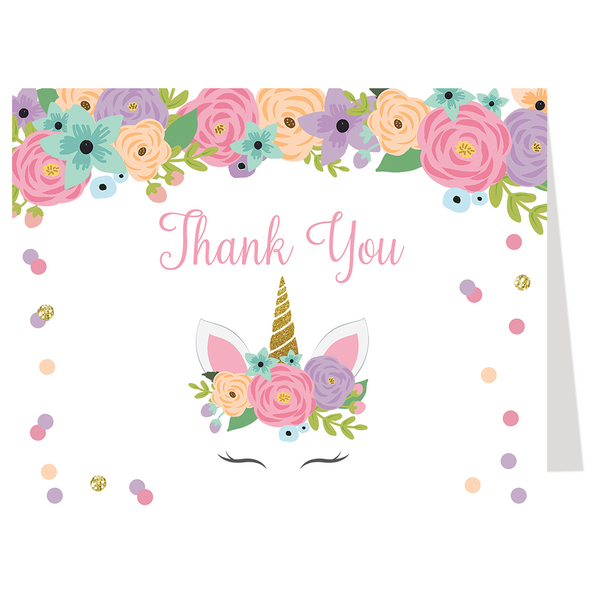 unicorn thank you cards  the invite lady