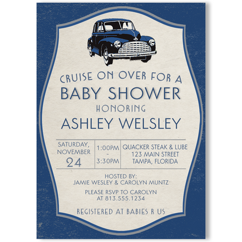 Vintage Car Baby Shower Invitation
