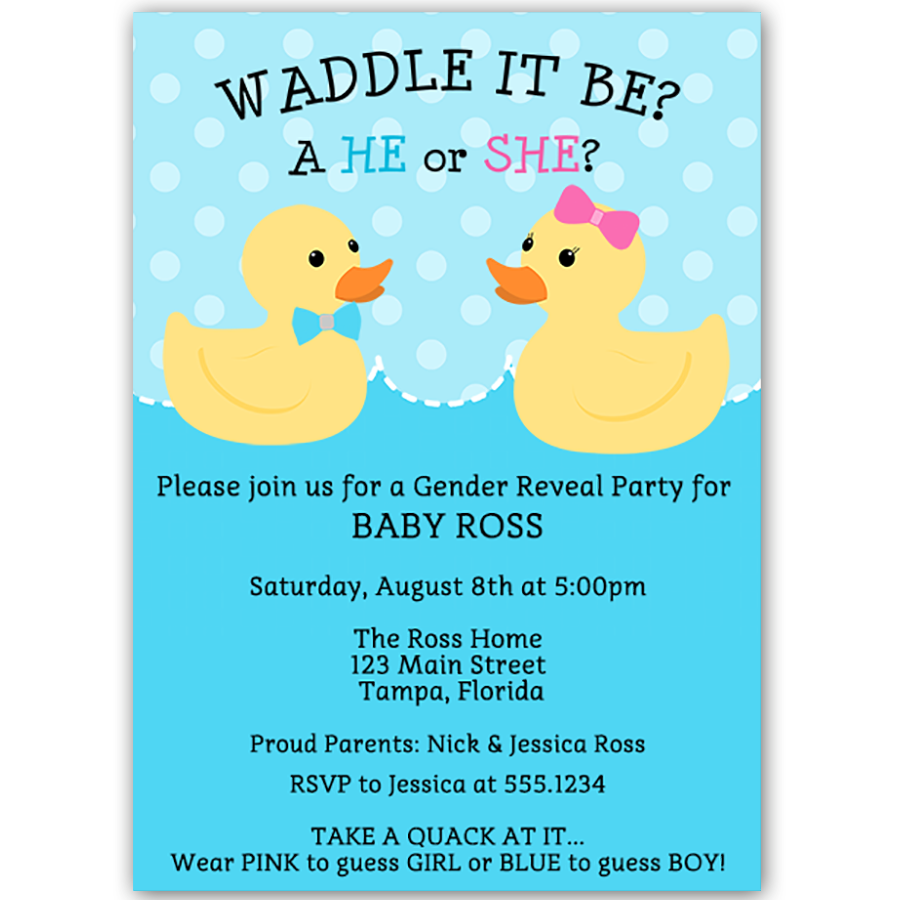 Waddle It Be Gender Reveal Party Invitation – The Invite Lady