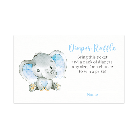 Watercolor Elephant Blue Baby Shower Diaper Raffle Ticket