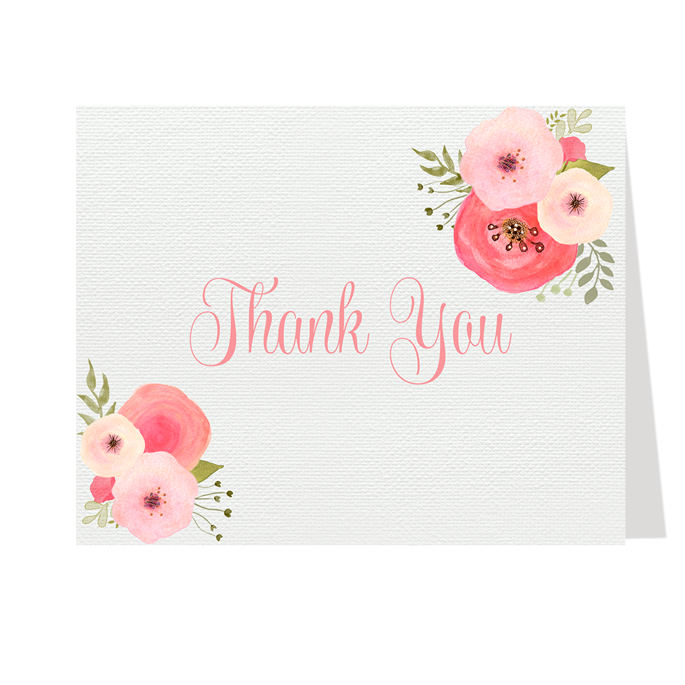 Watercolor Blooms Thank You Card