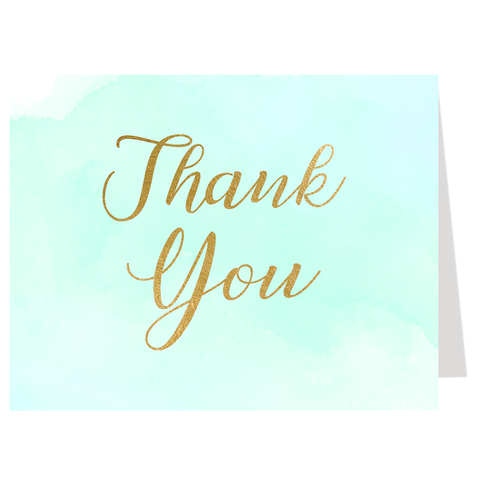 Watercolor Mint Thank You Card