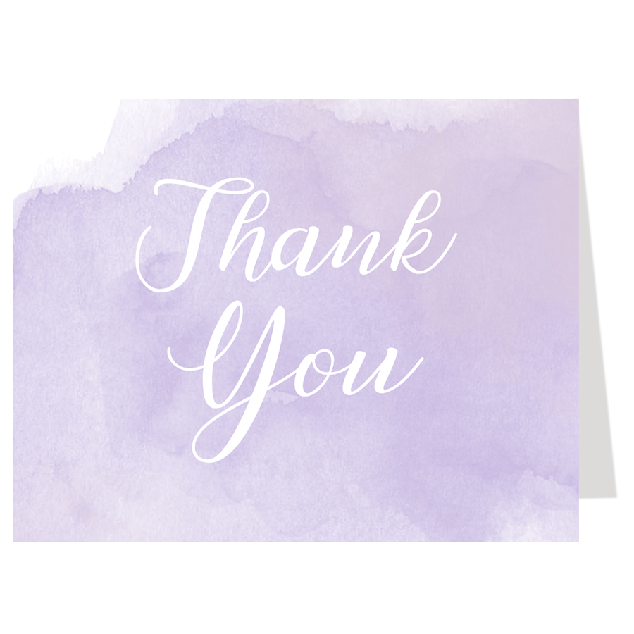 Watercolor Purple Thank You Card The Invite Lady