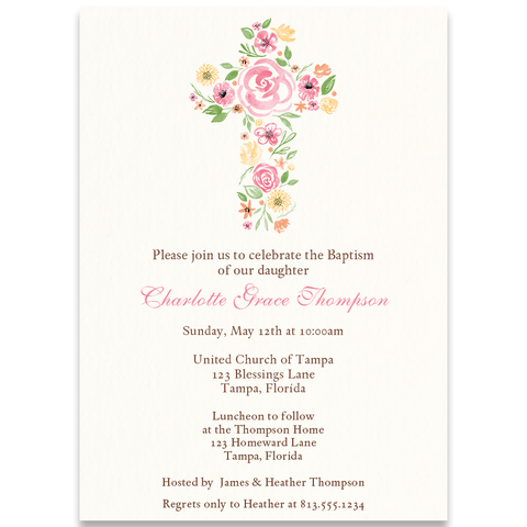 Watercolor Cross Invitation