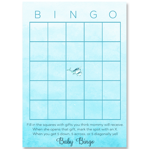 Watercolor Narwhal Blue Bingo Card