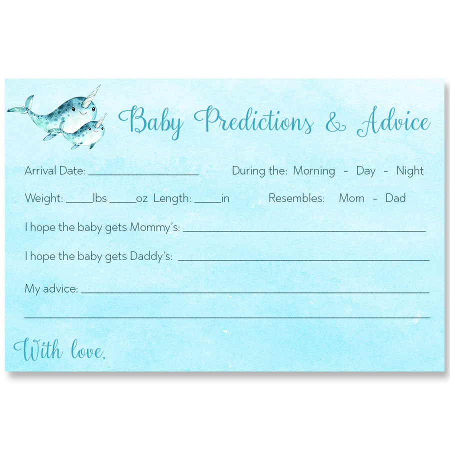 Watercolor Narwhal Blue Predictions Card