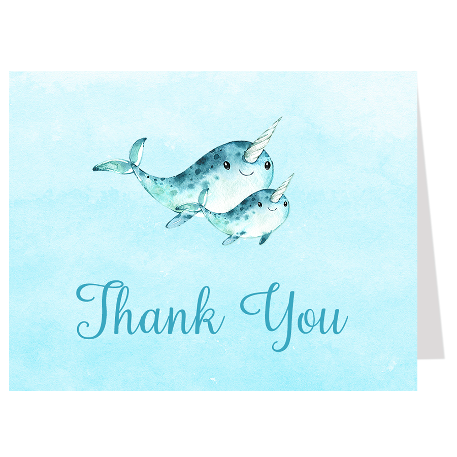Watercolor Narwhal Blue Thank You Card