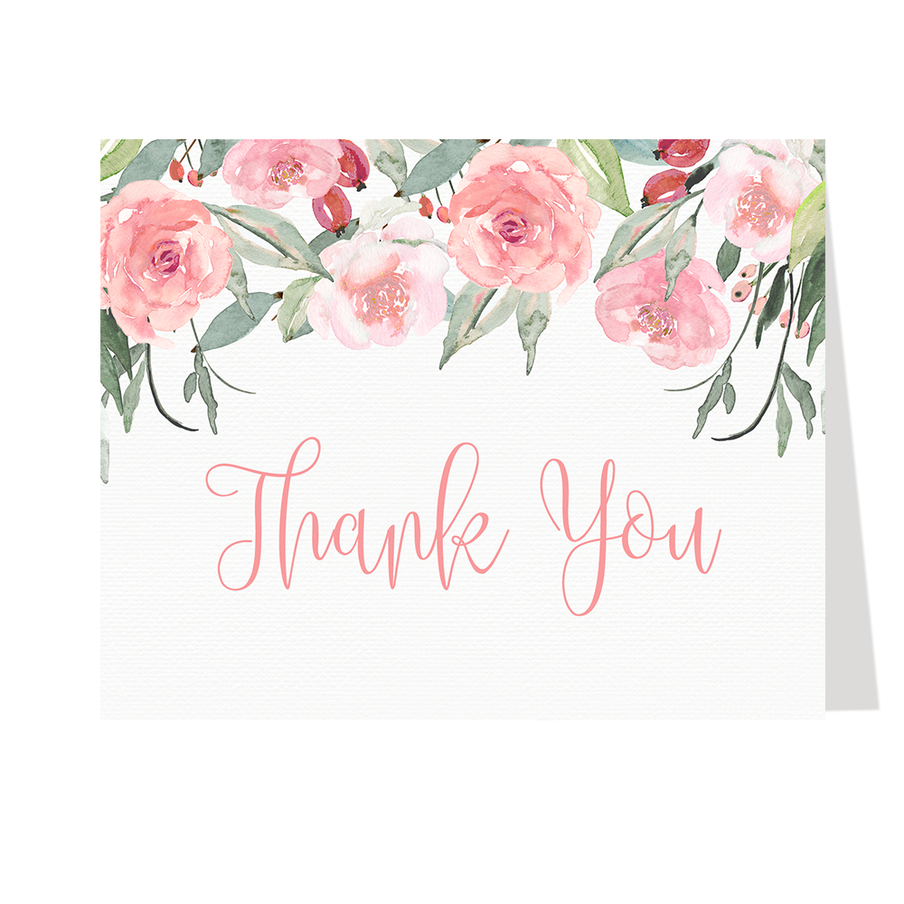 Watercolor Roses Thank You Cards