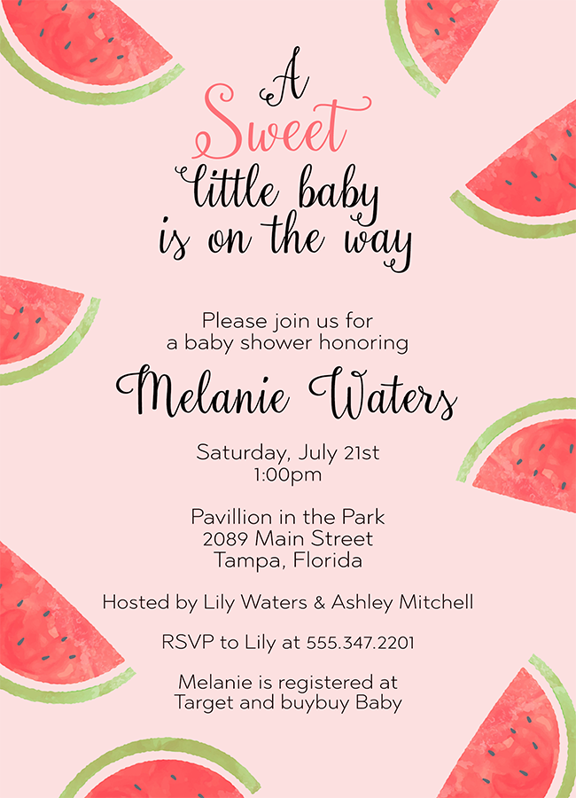 Watermelon Baby Shower Invitation