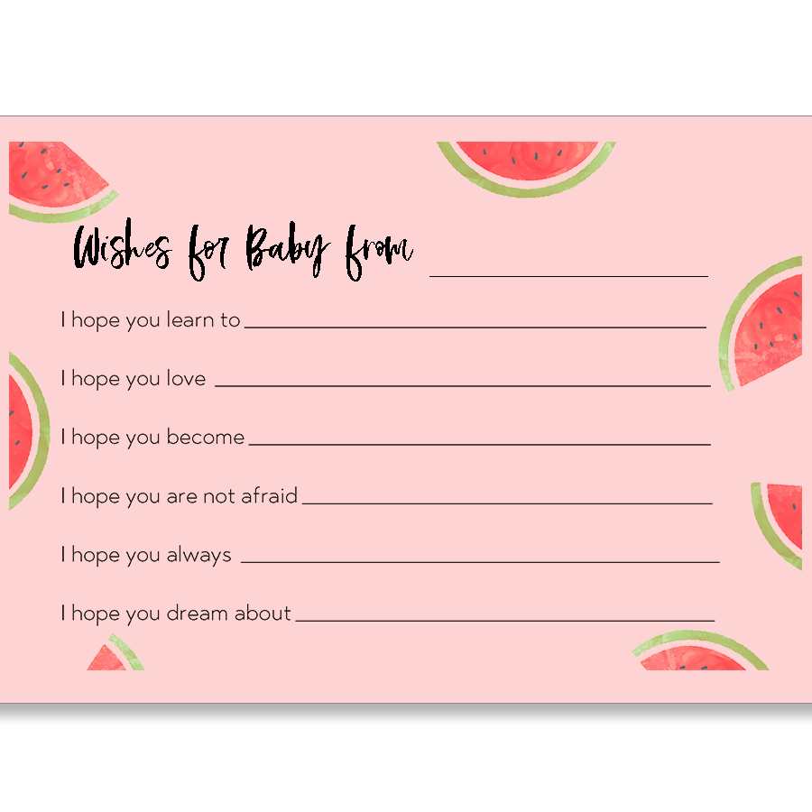 watermelon baby shower wishes card
