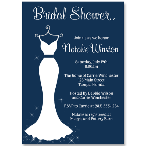Simple Wedding Dress Bridal Shower Invitation, Navy