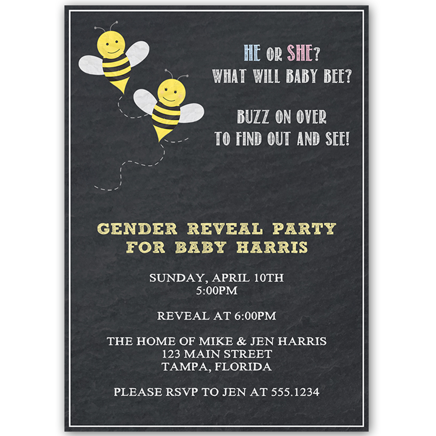 What Will Baby Bee Gender Reveal Party Invitation The Invite Lady – Baby Gender Reveal Party Invitations