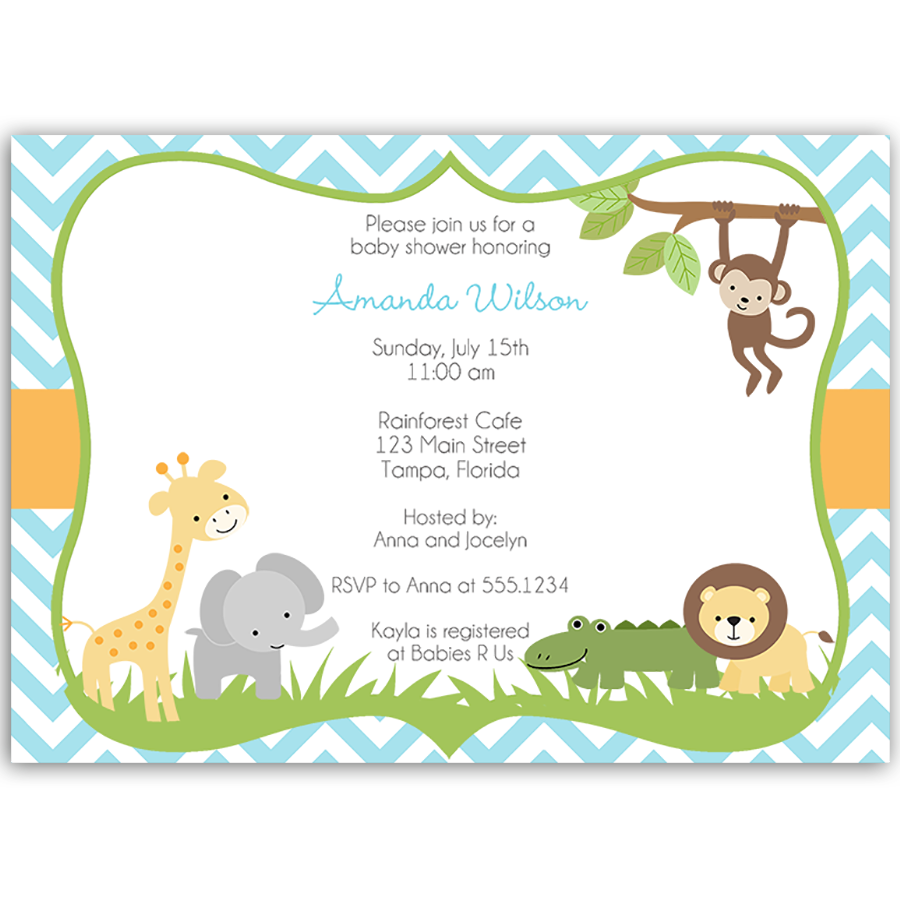 Wild With Excitement Blue Baby Shower Invitation
