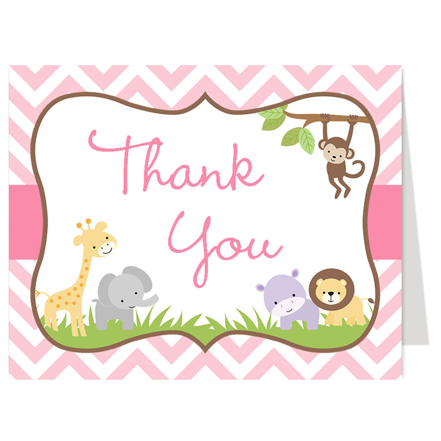 Wild With Excitement Pink Thank You Card