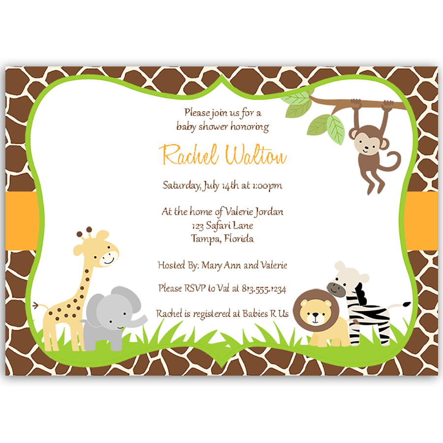 wild with excitement baby shower invitation