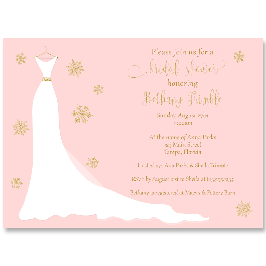 Winter Wedding Gown Pink and Gold Invitation