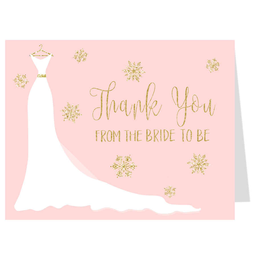 Winter Wedding Gown Thank You Card, Pink & Gold