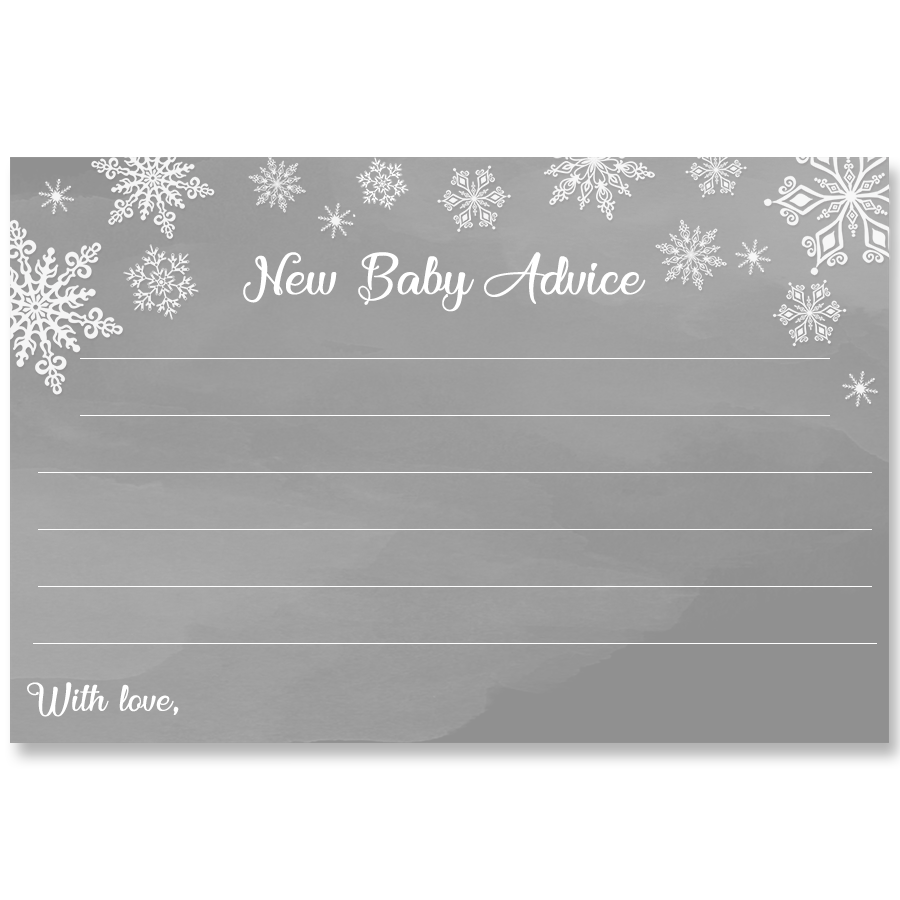 Winter Wonderland Gray Baby Shower Advice Card
