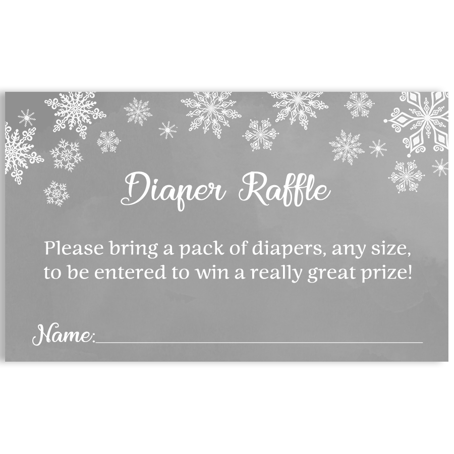 Winter Wonderland Gray Baby Shower Diaper Raffle Ticket