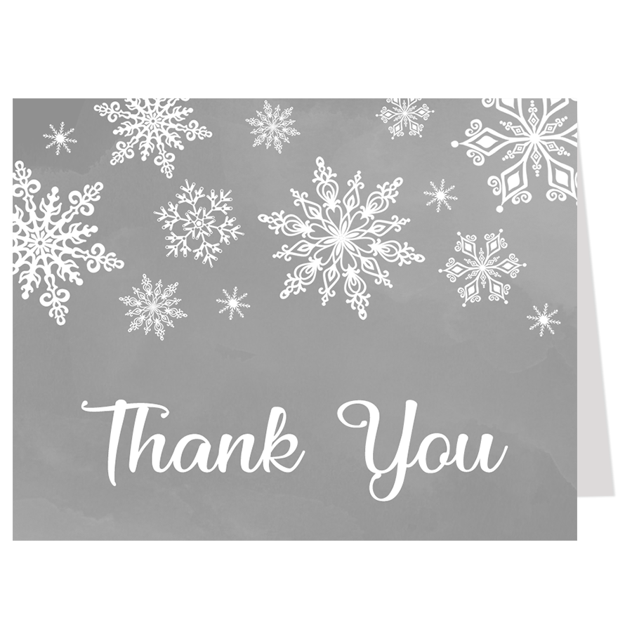Winter Wonderland Gray Baby Shower Thank You Card