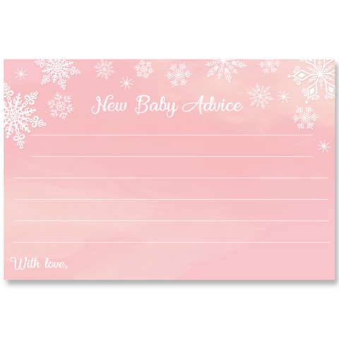 Winter Wonderland Pink Baby Shower Advice Card